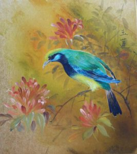 Chinese Brush Painting Colored Bird
