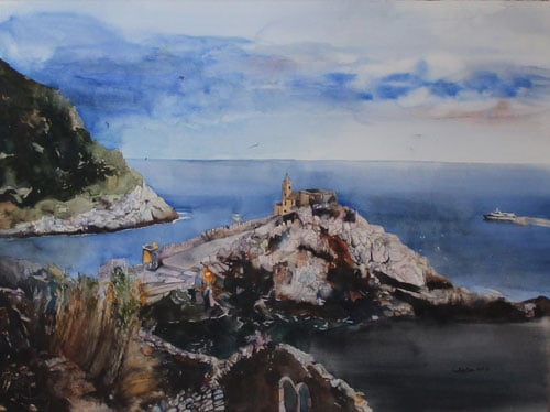 Evening at Portovenere - Watercolor painting classes at Heartroom Gallery