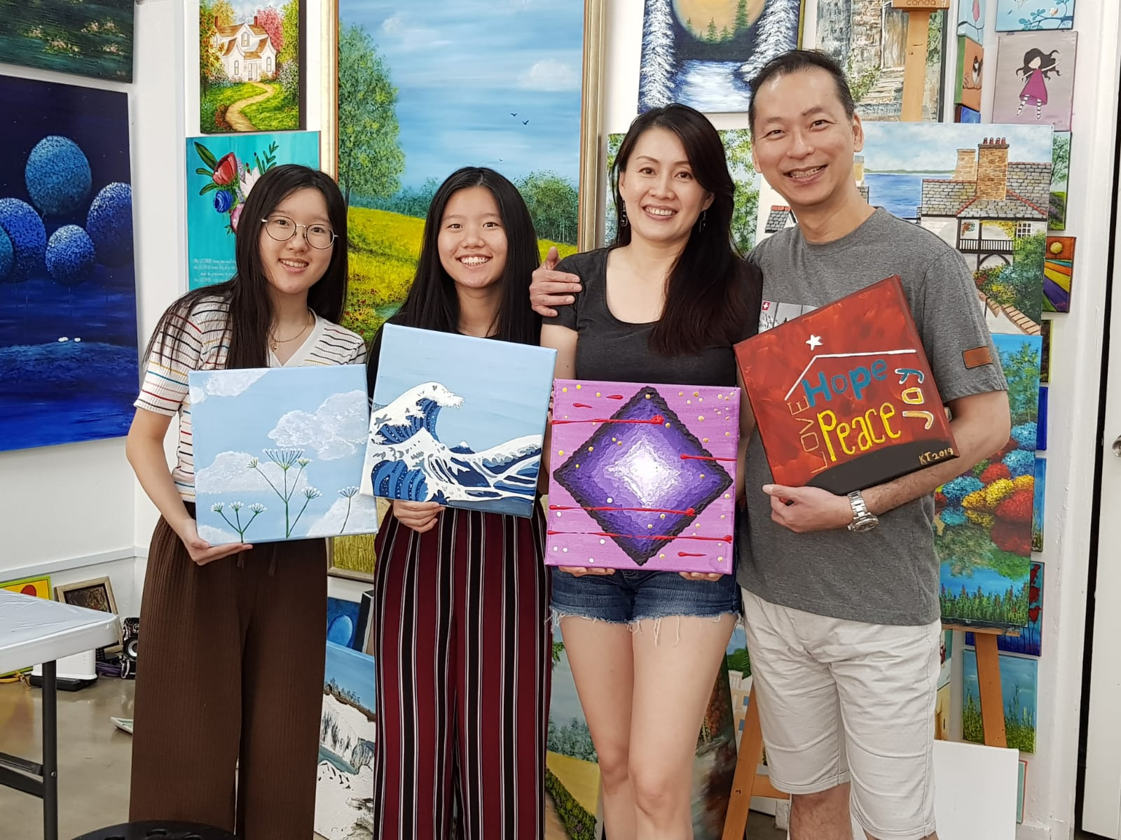 Couple with their two nieces art jamming